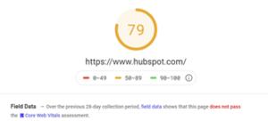 Hubspot Core Web Vitals